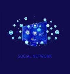 Social network and computer with profiles vector