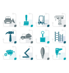 Stylized building and construction equipment icons vector