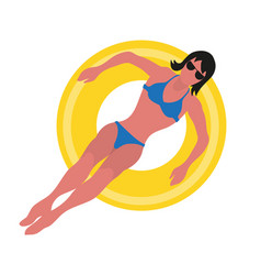 Summer time woman in bikini on inflatable ring vector