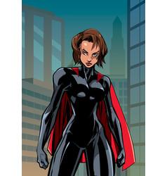 Superheroine battle mode city vertical vector
