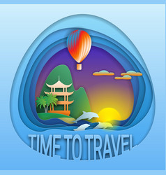 time to travel emblem template sunset with hot vector image