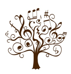 Tree with curly twigs with musical notes vector