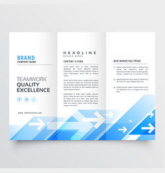 Tri-fold business brochure with geometric blue vector