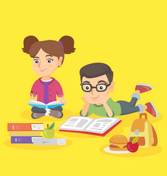 Two caucasian children doing homework together vector