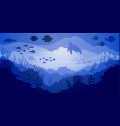 underwater coral reef life blue sea background vector image