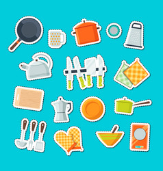 utensils flat icons stickers set vector image