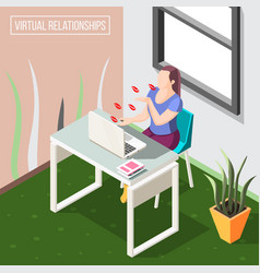virtual relationships isometric background vector image