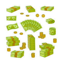 Wads stacks rolls of dollar banknotes and coins vector