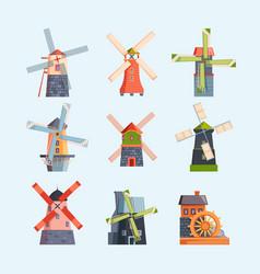 water windmills netherlands rural buildings vector image