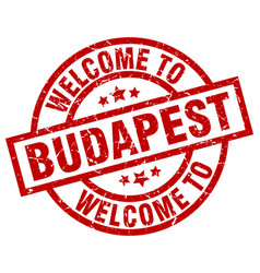 welcome to budapest red stamp vector image