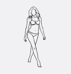 Woman in bikini sketch vector