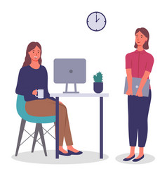 Woman with laptop and talking colleague sitting vector