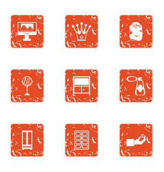 Working nook icons set grunge style vector