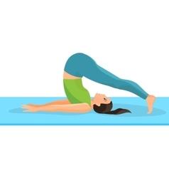 yoga asana pose girl lying on rug and taking vector image