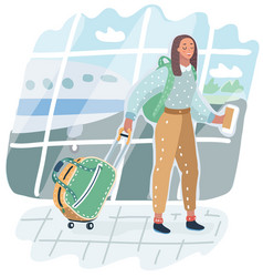 Young american woman in airport vector