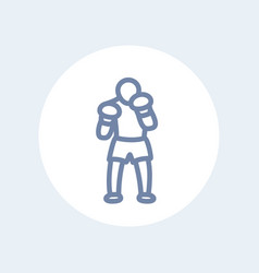 boxer icon boxing pictogram isolated on white vector image vector image