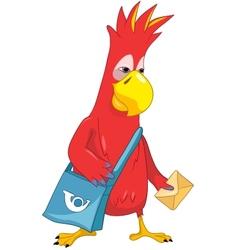 Funny Parrot Postman vector image