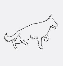 german shepherd pet dog doodle style vector image vector image