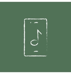 Smartphone with music note icon drawn in chalk vector
