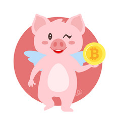 winking pig holding bitcoin vector image