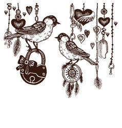 birds with padlock in vintage style hearts vector image