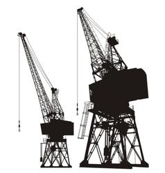 Dockyard cargo cranes vector