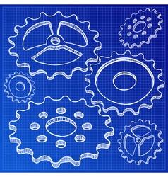 gears on blueprint vector image