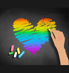 hand drawing rainbow colored heart vector image