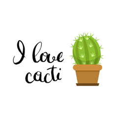 horizontal with cute cactus in vector image vector image