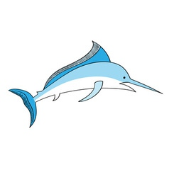 simple swordfish isolated on the white vector image vector image
