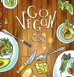 vegetarian food on board vector image