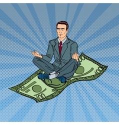 Businessman meditating on the hundred dollar bill vector