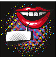 comic lips smile speech bubble pop art on dot vector image vector image