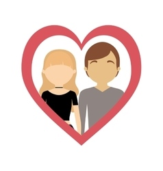 couple love frame heart fashion style vector image vector image