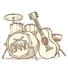 Drums and Guitar vector image vector image