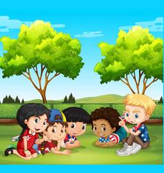 happy children in the park vector image