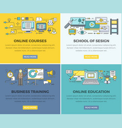 Online education courses web banners set vector