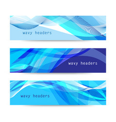 set of abstract blue wavy headers vector image