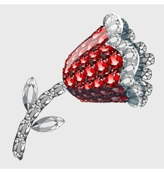 Flower made of precious stones rubies and diamonds vector image vector image