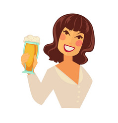 woman holding glass of beer with foam isolated on vector image vector image