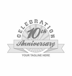 10 th anniversary grey shine background vector