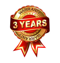3 years warranty golden label with ribbon vector