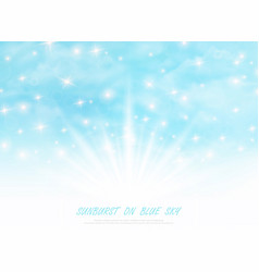 abstract sunburst on blue sky with glitters vector image