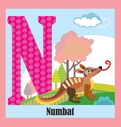 Animal alphabet n vector