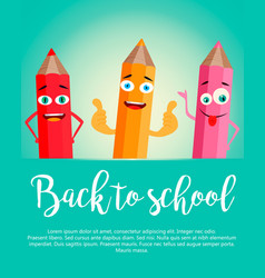 Back to school background with realistic pencils vector
