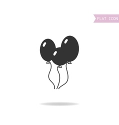 Balloons isolated on white background Flat black vector image