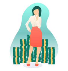 beautiful catchy girl surrounded by a lot of money vector image