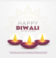 Beautiful happy diwali greeting with burning diya vector