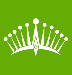 big crown icon green vector image