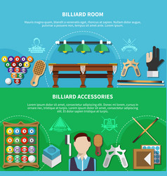 Billiard room and accessories banners vector